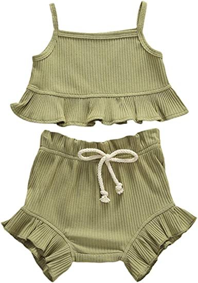 Newborn Baby Girl Knitted Outfit Strap Ribbed Vest Top Shorts 2Pcs Clothes Set Summer