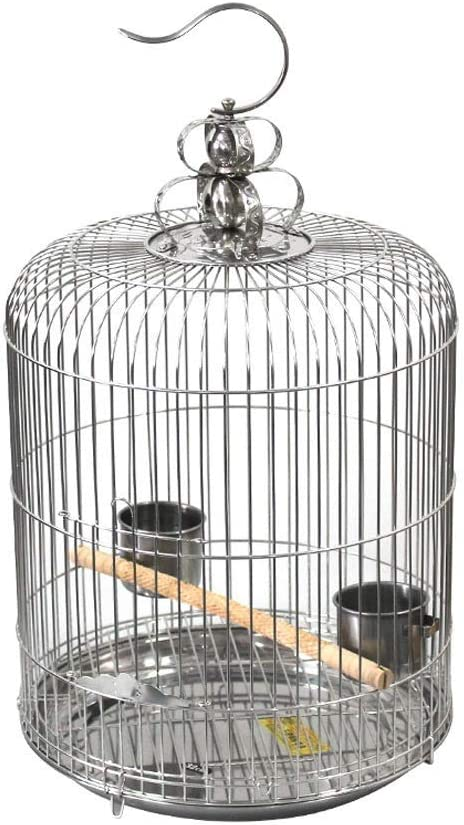 ZTMN Jaulas Redondas de Acero Inoxidable para pájaros, jaulas para pájaros, jaulas para pájaros, pinzones, hábitats para Canarios, jaulas Colgantes para el hogar de Mascotas (tamaño: 34 cm)