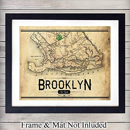 (Vintage Brooklyn New York City Wall Art Print - Ready to Frame Photo (8X10) - Perfect Gift for NYC Map Fans and Great for Home Decor)