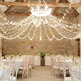 LeMorcy Window Curtain Lights, 300 LED 9.8ft x 9.8ft Waterproof String Fairy Light LED Backdrop Lights For Wedding Party Home Garden Decorations (White)
