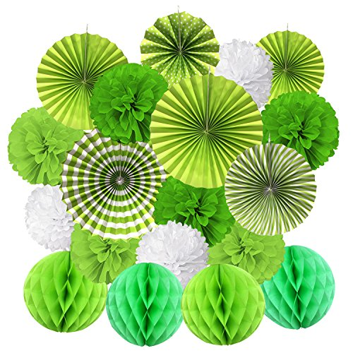 Hanging Paper Fan Set, Cocodeko Tissue Paper Pom Poms Flower Fan and Honeycomb Balls for Birthday Baby Shower Wedding Festival Decorations - Green