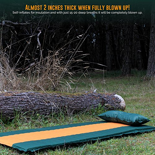 Ryno Sleeping Pad Set, Self-Inflating Camping Mattress with Pillow, The Camping is Large and Yet Compact When A Camping, Hiking, Backpacking