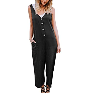 752a89c04a7a Women Jumpsuit Ladies Summer Button Decor Loose Holiday Beach Pants Wide  Leg Trousers Rompers Playsuit Casual Pullover Sweatshirt Jumper T-Shirt  Blouse Tops ...