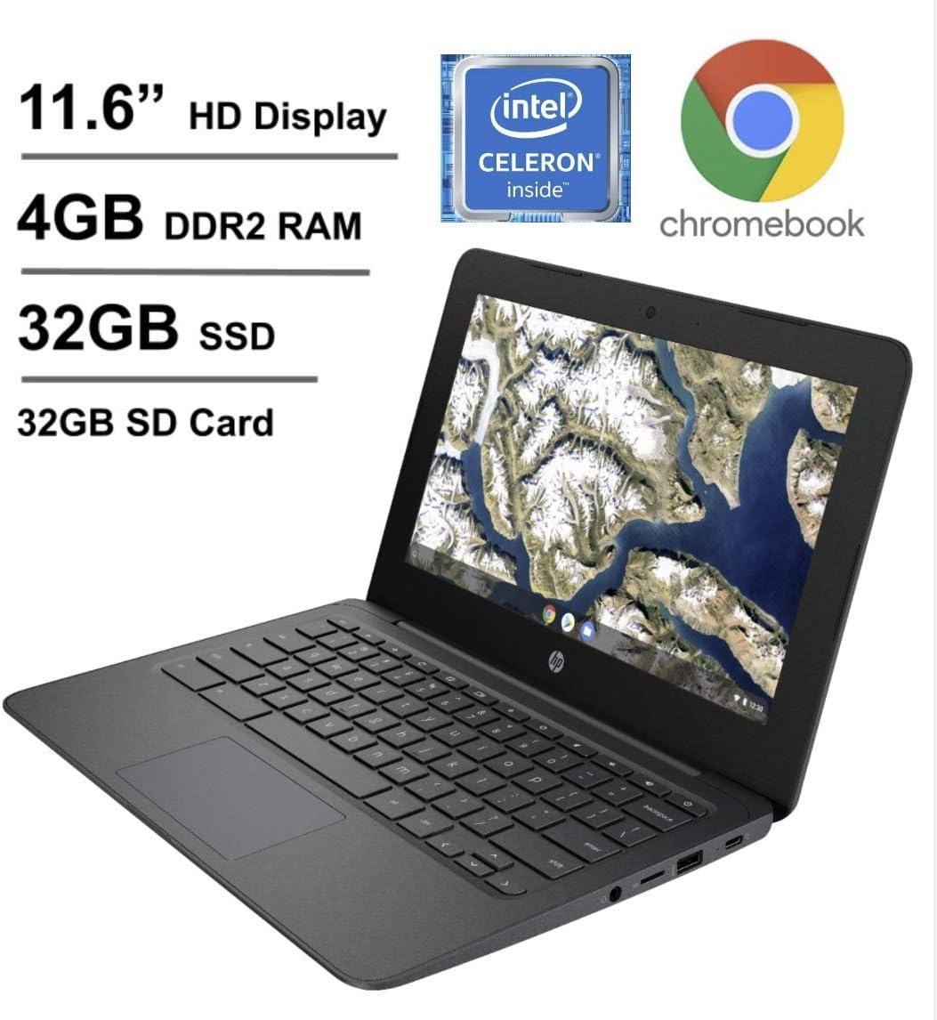 2020 Newest HP Chromebook 11.6 Inch Laptop, Intel Celeron N3350 up to 2.4 GHz, 4GB LPDDR2 RAM, 32GB eMMC + Oydisen 32GB SD Card, WiFi, Bluetooth, Webcam, Chrome OS (Google Classroom Ready)