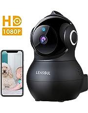 Cámara de Vigilancia,Lensoul 1080P Cámara IP Interior Inalámbrico con Visión Nocturna Detección de Movimiento Audio de 2 Vías 2.4GHz WiFi Compatible con iOS/Android(Negro)