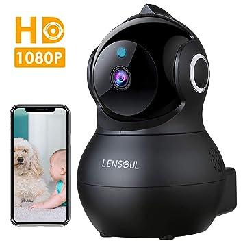 Cámara de Vigilancia,Lensoul 1080P Cámara IP Interior Inalámbrico con Visión Nocturna Detección de Movimiento Audio de 2 Vías 2.4GHz WiFi Compatible ...