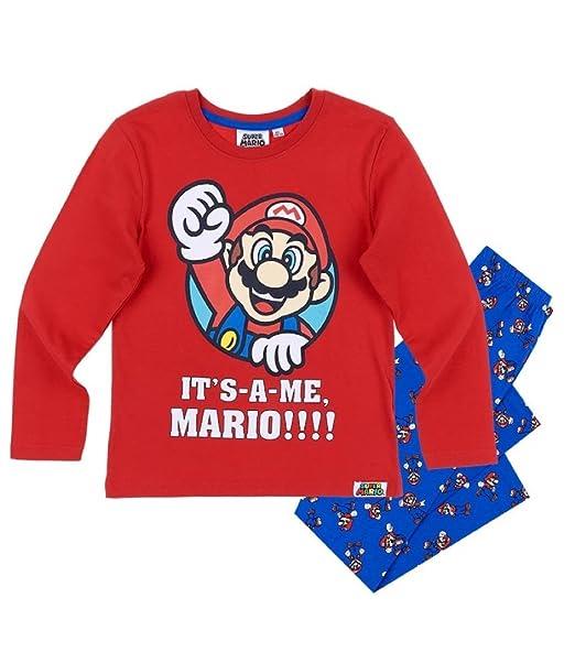 Super Mario Bros Pijama Dos Piezas - para niño Rojo (104/4 Años)