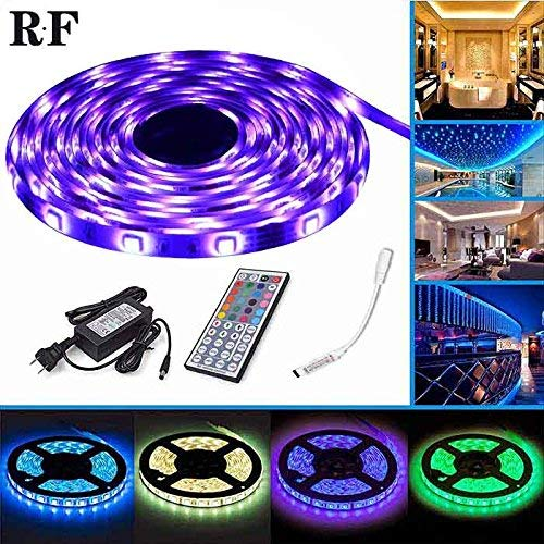 LEN RGB LED Strip Lights - LED Light Strip with RF Controlled - 5M Waterproof 150LEDs 5050 SMD RGB Led Lights Kit with Rmote Controller and Power Supply by LEN