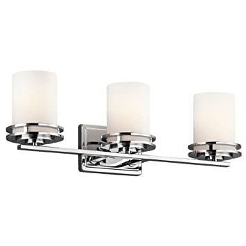 kichler lighting 5078ch hendrik 3 light vanity fixture chrome finish with satin etched cased