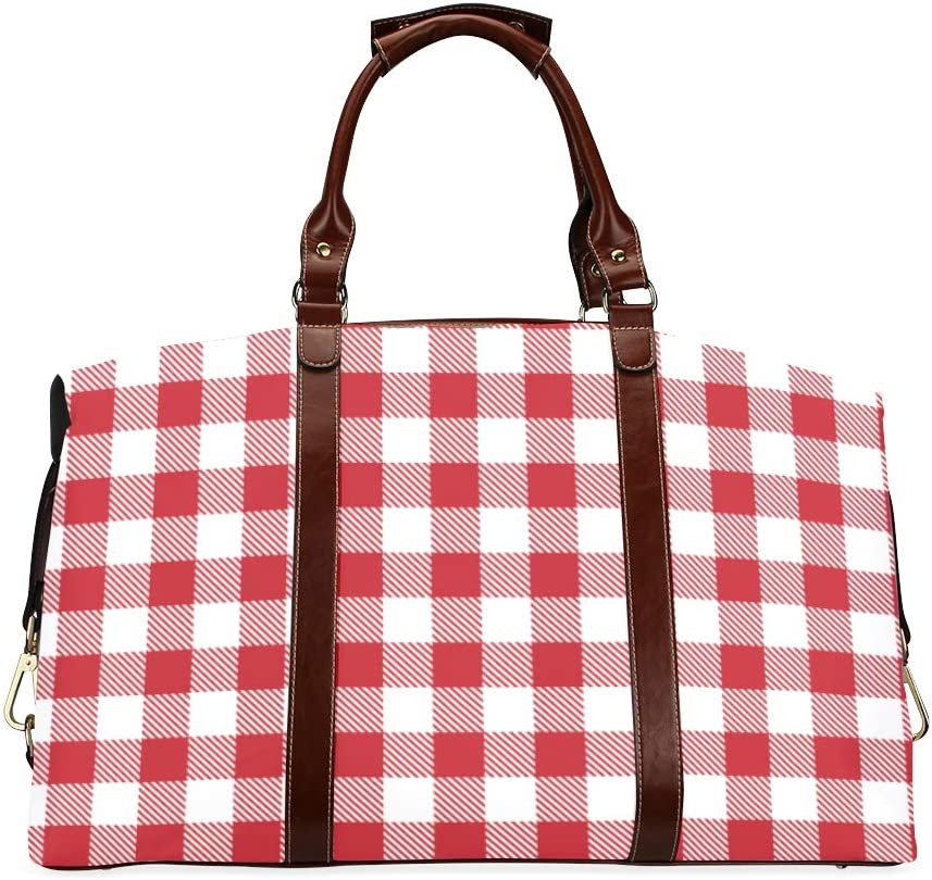 Handbag Men Red Interlaced Lattice Classic Oversized Waterproof Pu Leather Carry Handbag Mens Bag Travel