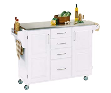 Create-a-cart White 2 Door Kitchen Cart with Stainless Steel Top by Home  Styles