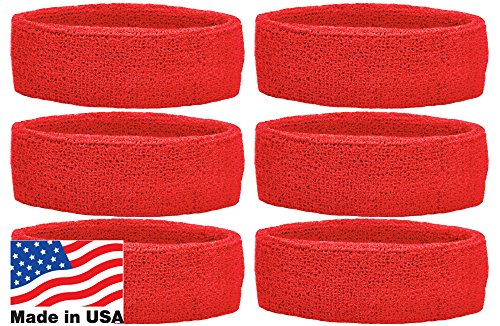 Unique Sports Team Headbands (Pack of 6), Red