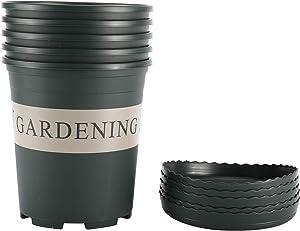 Artilife 5Pcs 1 Gallon Nursery Pot Garden Planter Pots Nursery Plant Container with 5Pcs Pallet, Suit for Indoor and Outdoor Planting