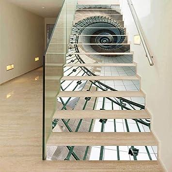 ZJWZ La Impresión 3D De Escalera Escalera De Caracol Calcomanías Patrón De Huellas De Escalón Risers Etiquetas Desprendible DIY Mural para La Decoración del Hogar del Arte: Amazon.es: Hogar
