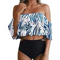 fc130cfb04224 Kiasebu Women Swimsuits Two Piece Off Shoulder Ruffled Flounce Crop Bathing  Suits Bikini Tankini Set