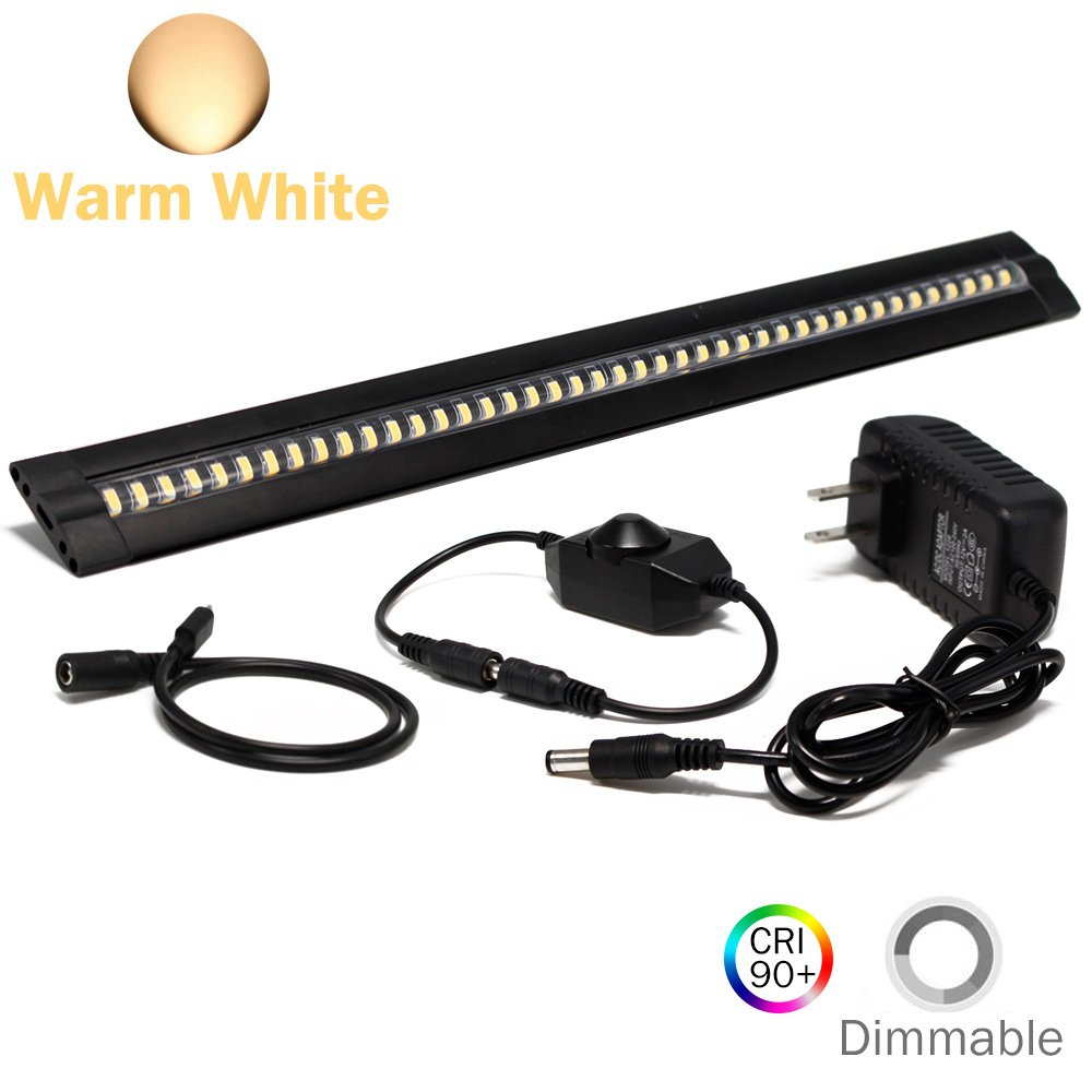 Ultra Thin LED Under Cabinet/Counter Kitchen Lighting Plug-in, Dimmable 2 Coin Thickness LED Light with 42 LEDs, Easy Installation Warm White 12V/1A 5W/450LM CRI90, All in One Kit.