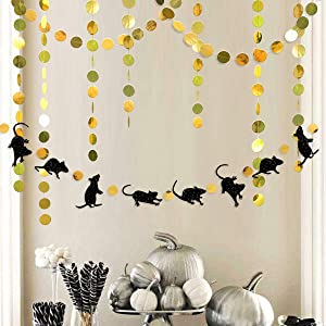 33 Ft Halloween Party Rat Banner Kit Double Sided Black Glitter Mice Gold Circle Dot Bunting Rats Garland Streamer for Happy Halloween Birthday Party Mouse Party Decorations Supplies
