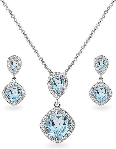 PLATINUM SILVER DIAMOND SET WHITE SAPPHIRE HALO CUSHION CUT DANGLE DROP PENDANT