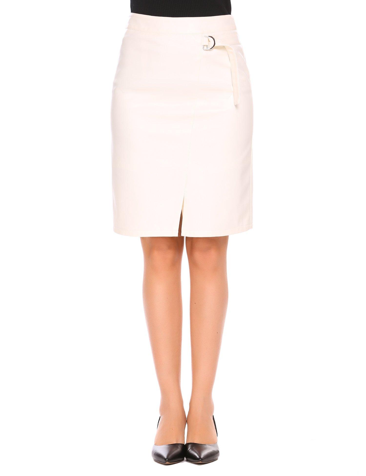Shine Women's PU Leather Skirt High Waist Knee Length Slim Pencil Skirts S-XXL