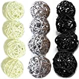 Christmas Gifts : Small Silver, Black, White Rattan Ball, Wicker Balls, DIY Vase And Bowl Filler Ornament, Decorative spheres balls, Perfect For Decoration And Party 2.5 inch, 12 Pcs.