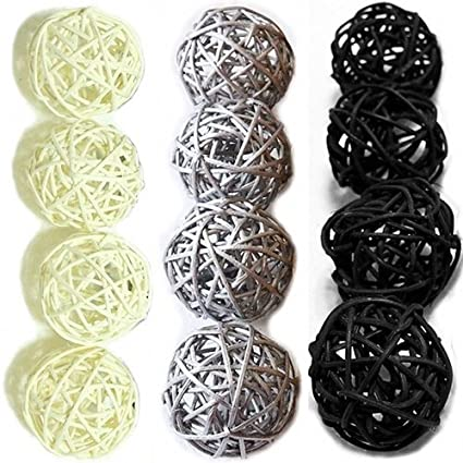 Amazon Christmas Gifts Small Silver Black White Rattan Ball Adorable Black And White Decorative Balls