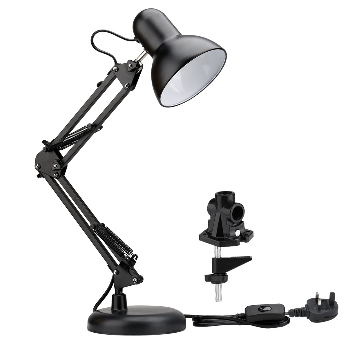 LE Swing Arm LED Desk Lamp E27 Bulb Socket Flexible C-Clamp Table Lamp Classic Architect Bedside Light for Reading Working Studying and More Lighting EVER