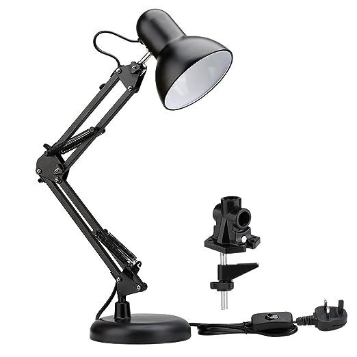 le swing arm led desk lamp with e27 bulb socket c clamp table lamp