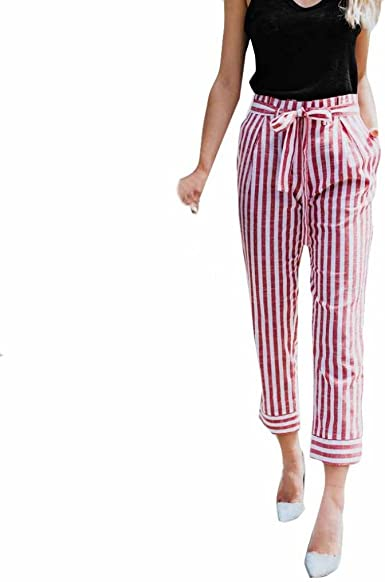 New Womens Off White,Pink /& Grey Stripe Belted Crop Wide Leg Trousers Size 10-12