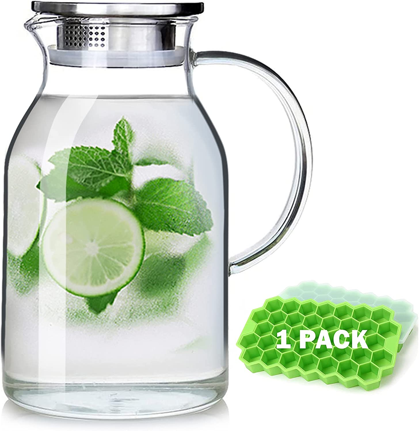 88OZ Glass Water pitcher with lid and Spout,High Heat Resistance Pitcher water jug for Hot/Cold Water & Iced Tea Wine Coffee Milk and Juice Beverage Carafe with Gift Ice Tray (2.6L)