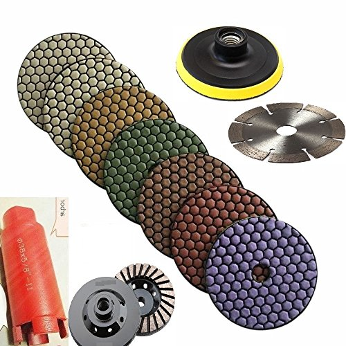 - 4-Inch Diamond DRY Polishing Pad 11+1 & 1-3/8 Inch 3 Inch core bit sink hole cutter grinding cup 5 Inch cutting blade for stone concrete granite terrazzo masonry cement sanding
