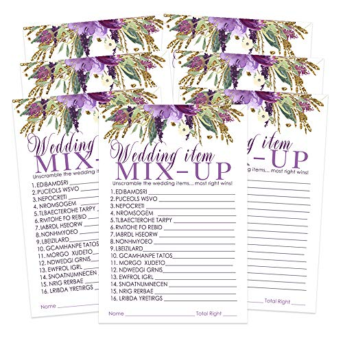 Purple Floral Bridal Shower Game - Word Scramble - Pack of 25