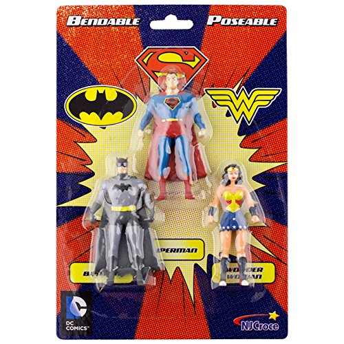 DC Comics Justice League, Bendable Poseable Mini Figure Set. Superman, Wonder Woman, Batman