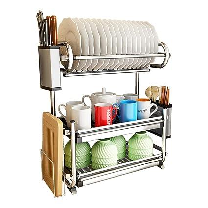 Shelf LYG Estante de Cocina Cocina Acero Inoxidable Escurreplatos Rack  Holder Organización Estante con Bandeja de 36a690ee96ca