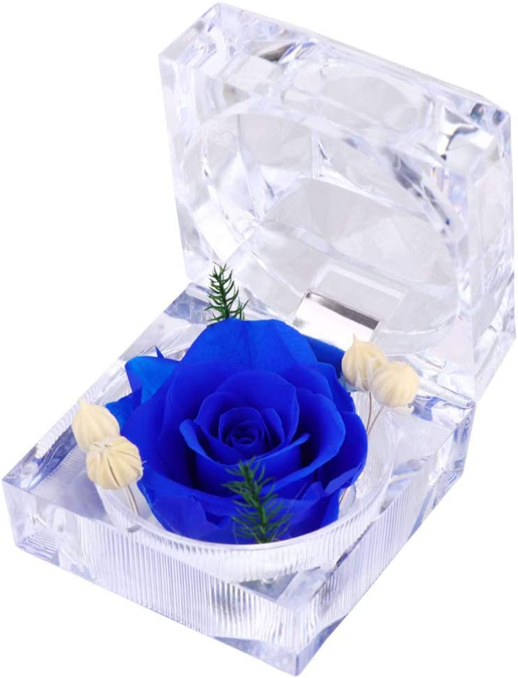 Vosarea Fleur Fra/îche Pr/éserv/ée Rose /Éternelle avec Bague en Cristal Acrylique Bo/îte Cadeaux pour Femmes Anniversaire Saint Valentin Anniversaire de Mariage Blanc