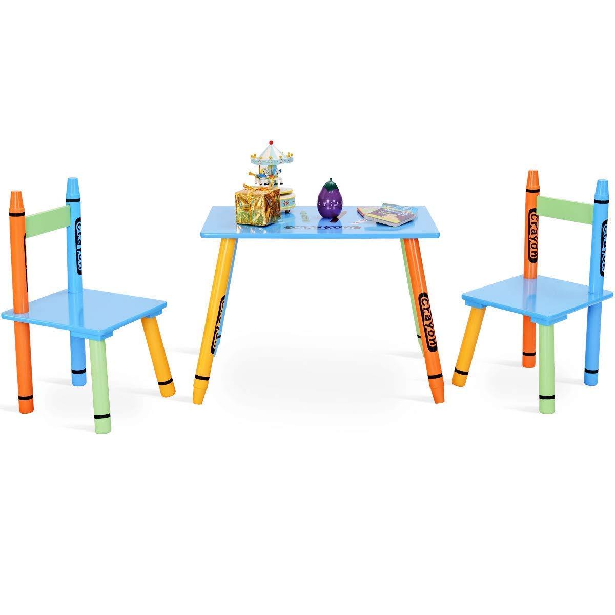 COSTWAY 3pcs. Tavolo per Bambini con 2 Sedie Mobili per Bimbo in MDF + Legno di Pino, Multicolore