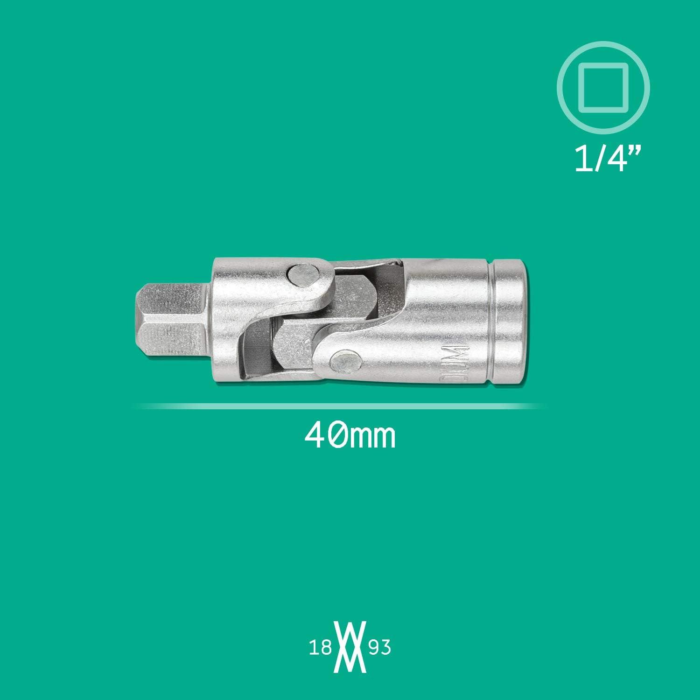 Joint de cardan double carr/é 1//4 par WIESEMANN 1893 entra/înement 6,3 mm 1//4   acier CV chrom/é 80874