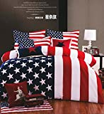 Norson 100% Cotton Reactive Printed American Flag Manufacturing Bedding Set 4pc, Quilt Cover and Pillowcase Sheets Twin Queen King (Twin)
