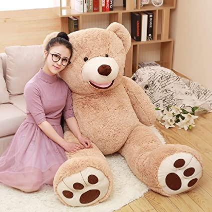 2ec0580ab1c Amazon.com  DOLDOA Big Teddy Bear Stuffed Animals with Footprints Plush Toy  for Girlfriend Brown 51 inch  Toys   Games