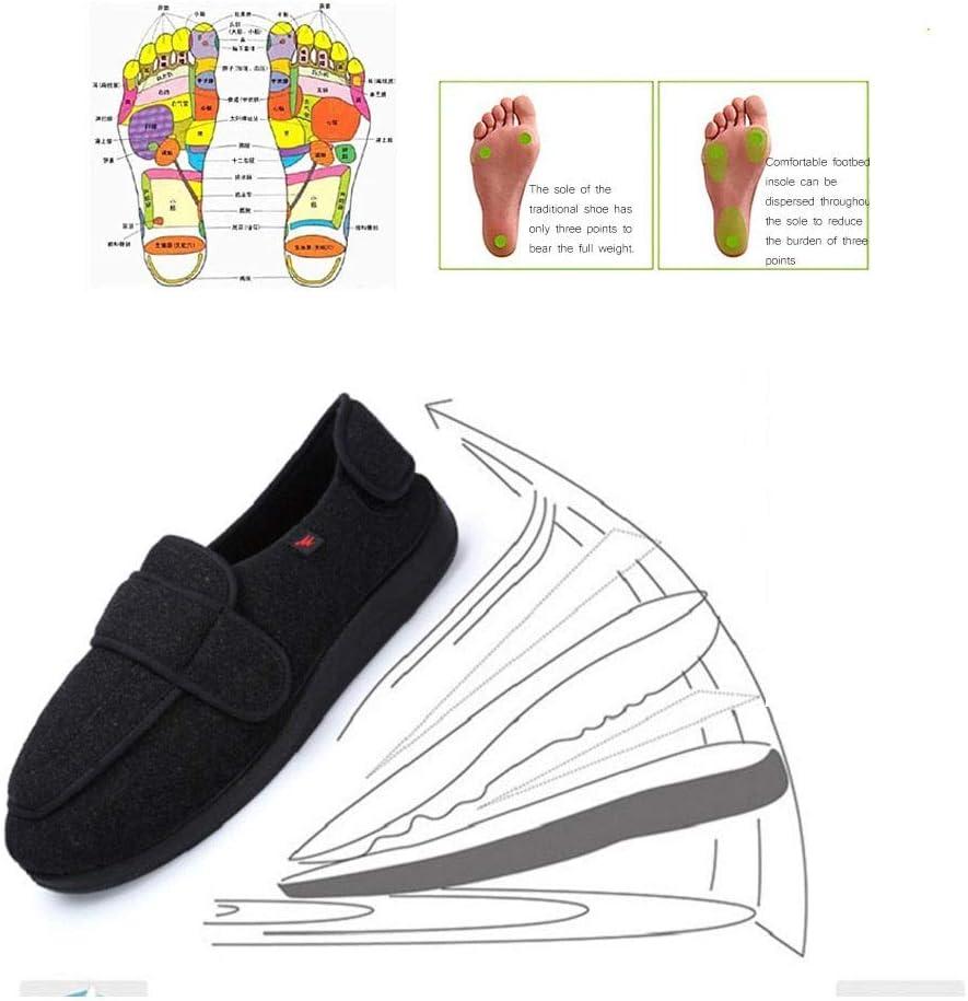 ldy Zapatillas para Diabéticos Pies Hinchados Zapatos para Caminar Hombres Mujeres Zapatos de Edema Ajustables Damas Zapatillas de Confort Ortopédicas Calzado Ancianos Talla UnisexUniversal Black-36