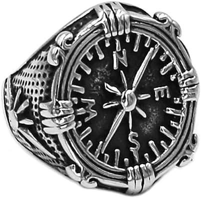 Silver Polished Round JEWURA Biker Ring Fashion Stainless Steel Jewelry