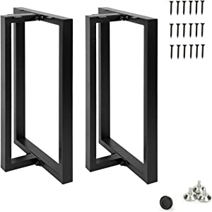 Metal Table Legs 28''x 17.7'' Heavy Duty T-Shape Desk Legs Industrial Furniture Legs for Dinning Table, Computer Table, Office Table (2Pcs)-Black