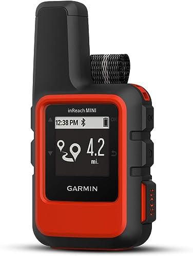 Garmin inReach Mini Orange Satellite Communicator Bundle with Hiking Backpack Tether Belt, Carabiner Clip Hiking GPS, Waterproof, GEOS Emergency Response