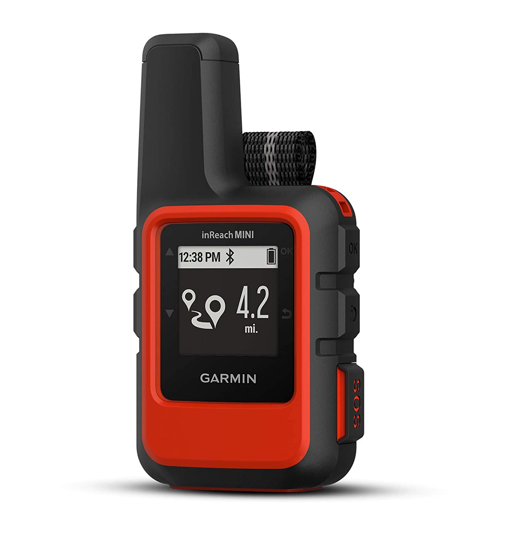 Garmin inReach Mini Orange Satellite Communicator Bundle with Hiking Backpack Tether 1 Month Free Satellite Subscription Belt, Carabiner Clip Hiking GPS, Waterproof, GEOS Emergency Response