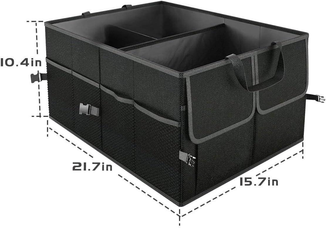 noir Umi camions et fourgonnettes Organisateur de rangement pour coffre de voiture avec deux poign/ées et poches en filet pour SUV pliable