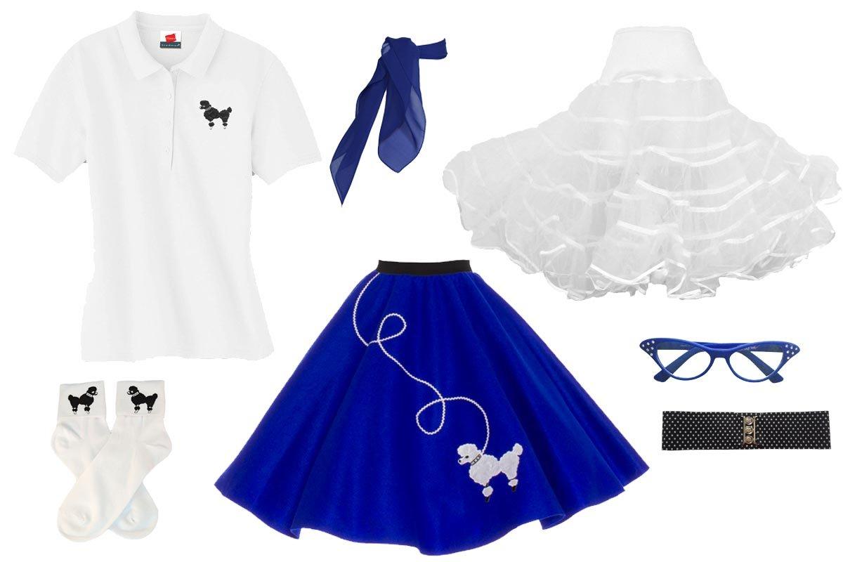 Hip Hop 50s Shop Adult 7 Piece Poodle Skirt Costume Set Royal Blue XXXLarge