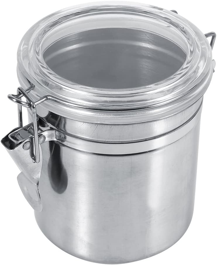 Stainless Steel Kitchen Food Storage Container for Sugar Tea Coffee Beans Canister with Clear Lid and Locking Clamp (M)