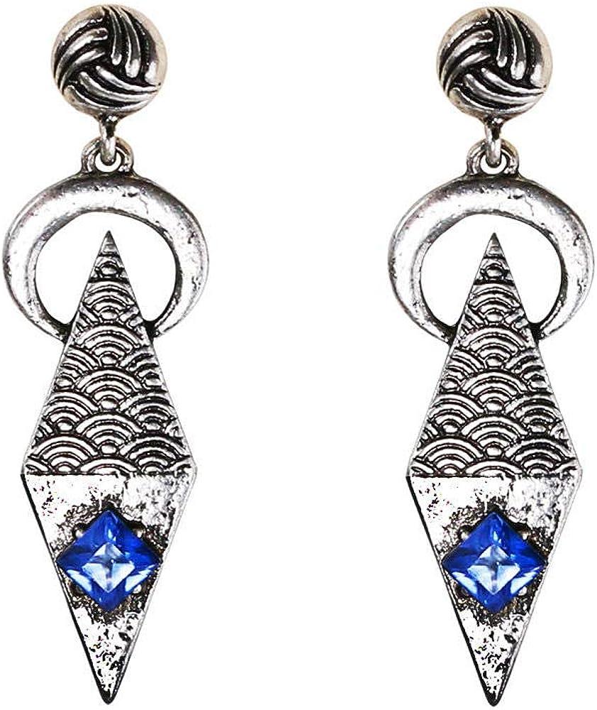 Cyjershi Pendientes, Antigua Artesanía Geométrica Exagerada Piedras Preciosas Pendientes De Diamantes, Accesorios De Vestir Para Damas, Regalos