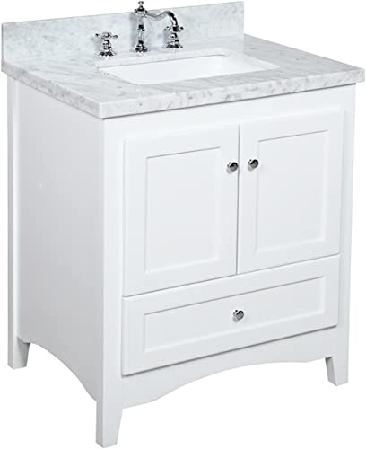 Abbey 30-inch White Bathroom Vanity Carrara White Includes a Soft Close Drawer, Self Closing Door Hinges and Rectangular Ceramic Sink