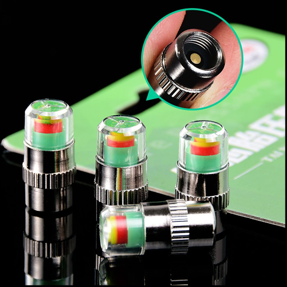 Ankia Pneu de voiture moniteur de pression Valve Caps Capteur Indicateur 3/Couleur oeil Alerte 4/pcs