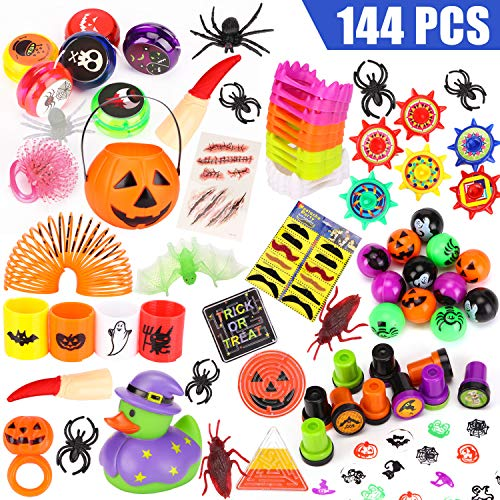 LAOSSC 144 Pieces Halloween Toys Novelty Assortment for Halloween Party Favors, Halloween Prizes,School Classroom Rewards, Trick or Treating